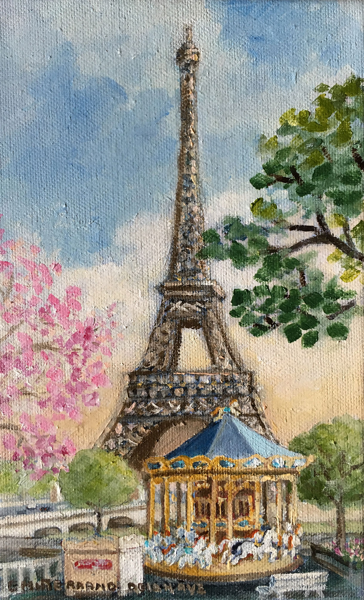 Carousel And Eiffel Tower In Spring Meet A French Artist